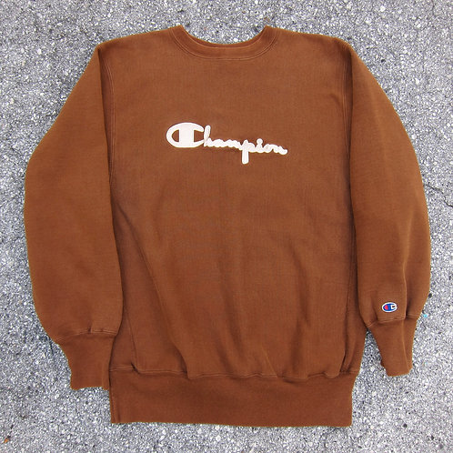 90s Champion Brown & Cream Reverse Weave Crewneck - L/XL