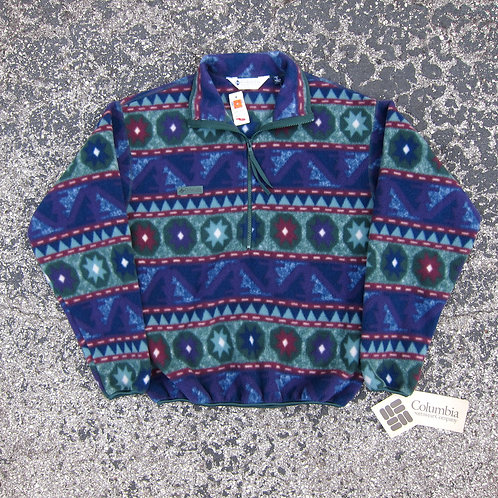 90s Columbia Sportswear Purple & Green Printed Fleece - S