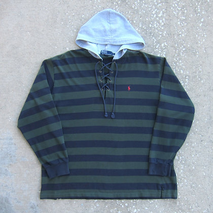 90s Polo RL Hooded Rugby Shirt - XL