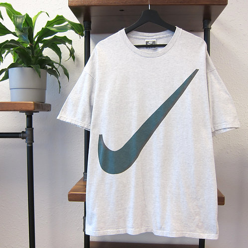 90s Nike Ash Grey Big Swoosh Tee - XL