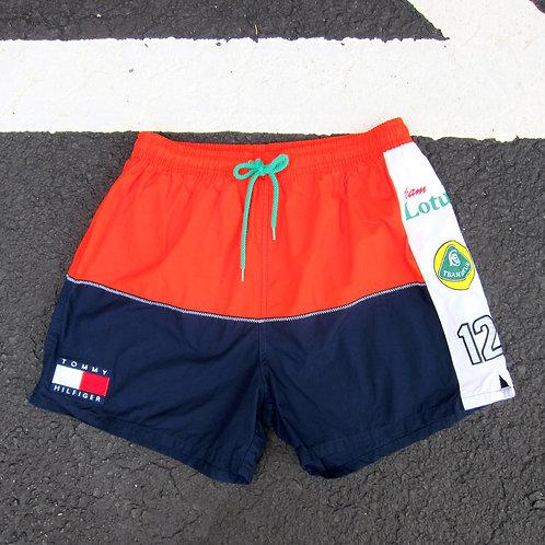 90s Tommy Hilfiger Orange & Navy Lotus Shorts - S/M