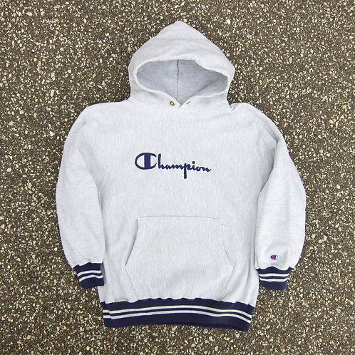 90s Champion Heather & Purple Reverse Weave Hoodie - M/L