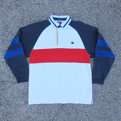 90s Tommy Hilfiger ColorBlock Rugby Shirt - L