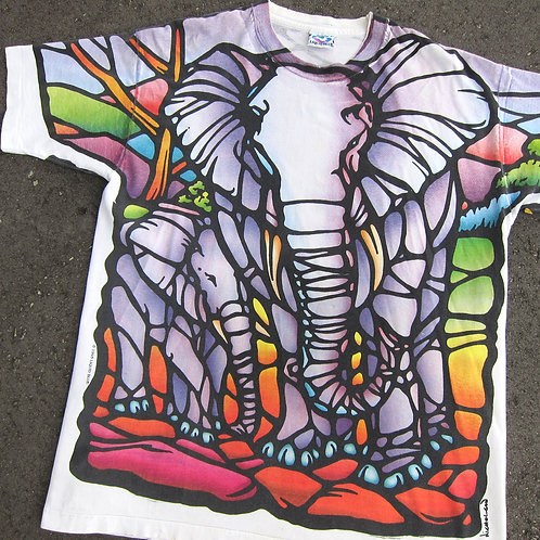 '93 Liquid Blue Elephant Art Tee - XL