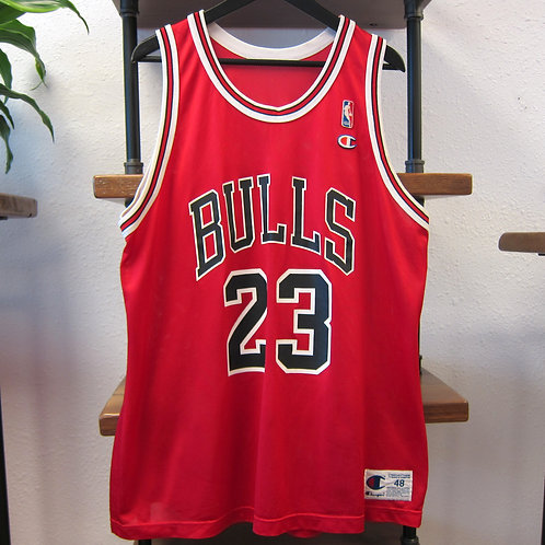90s Chicago Bulls Michael Jordan Red Champion Jersey - 48