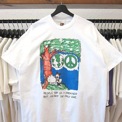 90's Calvin And Hobbes World Peace Tee - XL