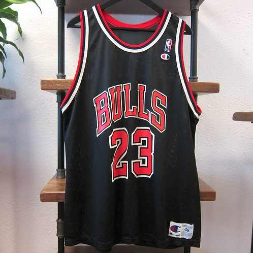 90s Chicago Bulls Michael Jordan Black Champion Jersey - 48
