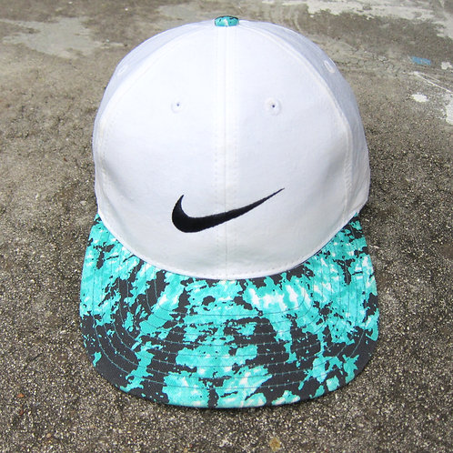 90s Nike White Nylon Hat w/ Printed Brim