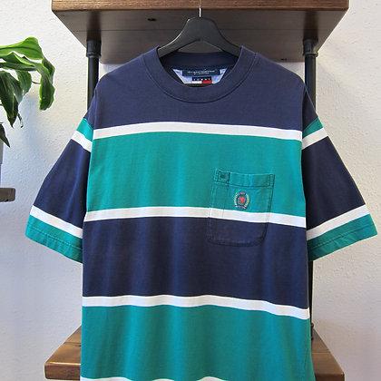 90s Tommy Hilfiger Wide Stripe Tee - L/XL