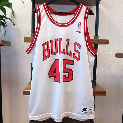 90s Chicago Bulls Michael Jordan White Champion Jersey - 48