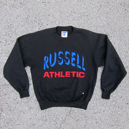 90s Russell Athletic Black Embroidered Cross Grain Crewneck - M/L