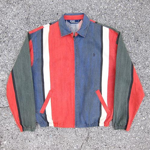 90s Polo Ralph Lauren Fade Stripe Denim Bomber Jacket - M/L