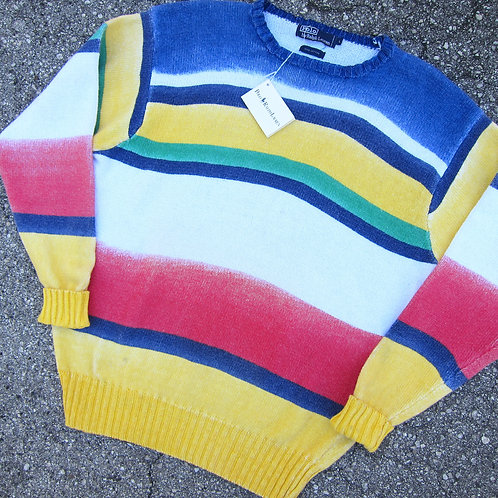 90s Polo Ralph Lauren Regatta Fade Stripe Knit Sweater - L