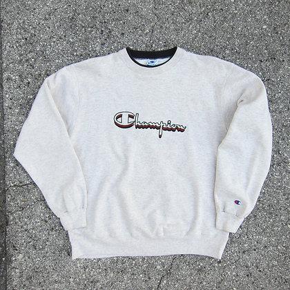 90s Champion Grey Embroidered Crewneck - L