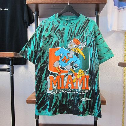 90s Miami Hurricanes Acid Dye Tee - L