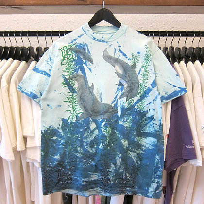 90's Dolphins All Over Print Tee - M