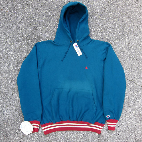 Early 90s Champion Aquarium Blue Reverse Weave Hoodie - L