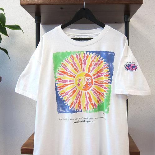 90s Sun Tie Dye Graphic Tee - boxy XL