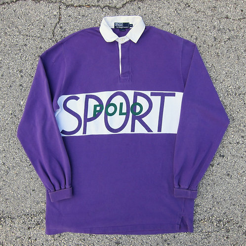 90s Polo Sport Grape Rugby Shirt - XL