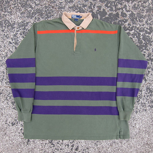 90s Polo Ralph Lauren Green Multi Stripe Rugby Shirt - XL
