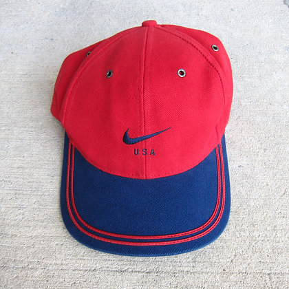 90s Nike USA Red & Navy 6 Panel Hat