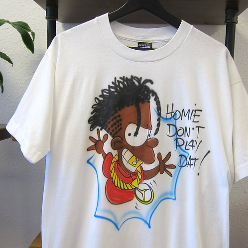 AirBrush* Early 90s Bootleg Bart Homie Dont Play Dat Tee - L/XL
