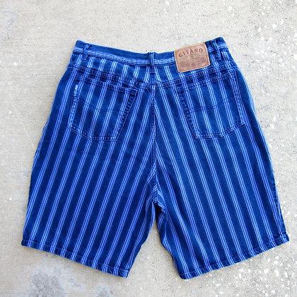 "90s Purple Striped Denim Shorts - 34"""
