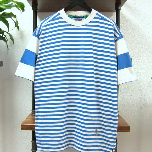 90s Tommy Hilfiger Blue & Cream Stripe Tee - L