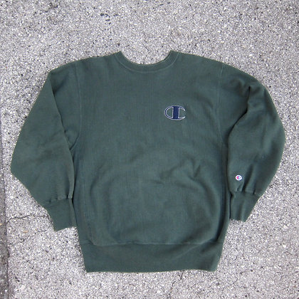 90s Champion Forest Green Reverse Weave Crewneck - XL
