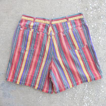 "90s Multi Color Striped Denim Shorts - 35"""