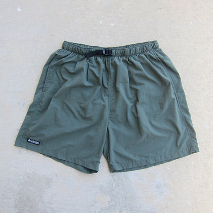 90s Columbia Sportswear Olive Green Belted Nylon Shorts - L