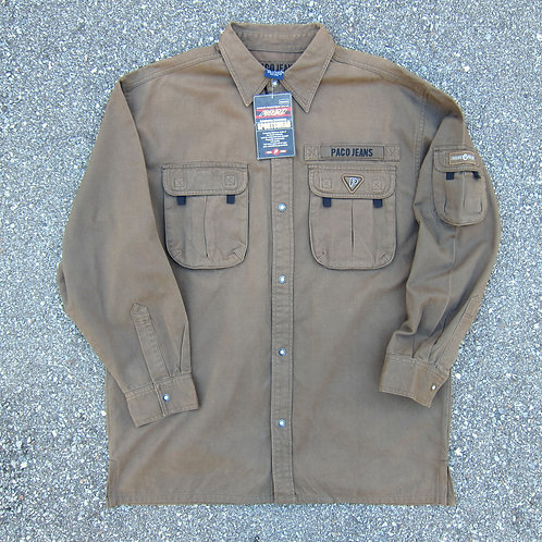 90s Paco Jeans Olive Cargo Shirt - L/XL