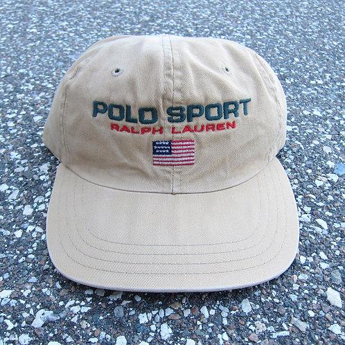 90s Polo Sport Beige 6 Panel Hat
