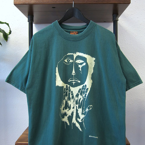 90s Forest Green Art Tee - L