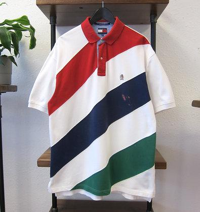 90s Tommy Hilfiger White Diagonal Stripe Polo Shirt - L