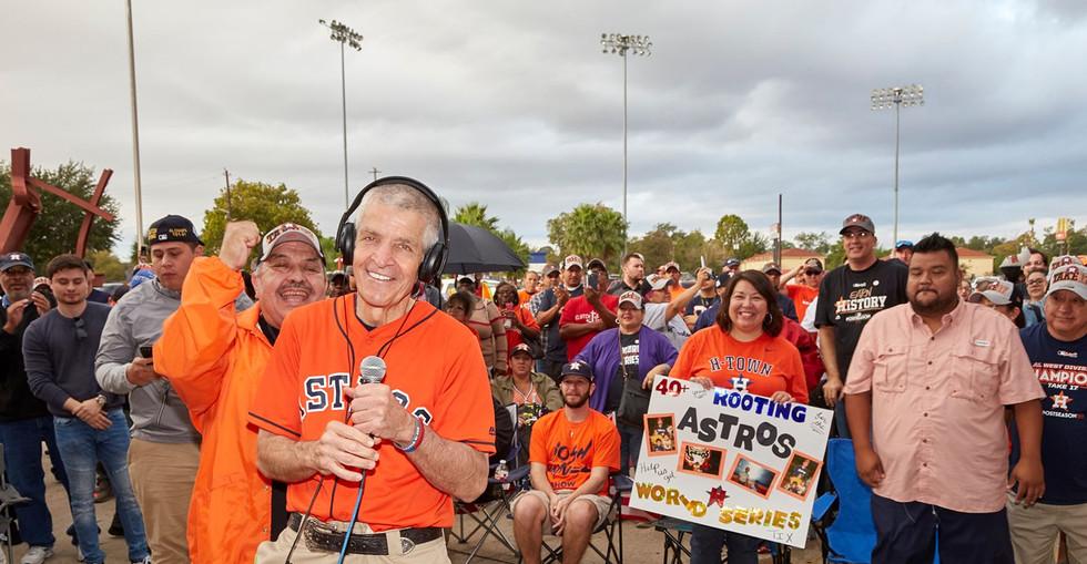 Mattress Mack and Houston community members celebrate the Astros.
