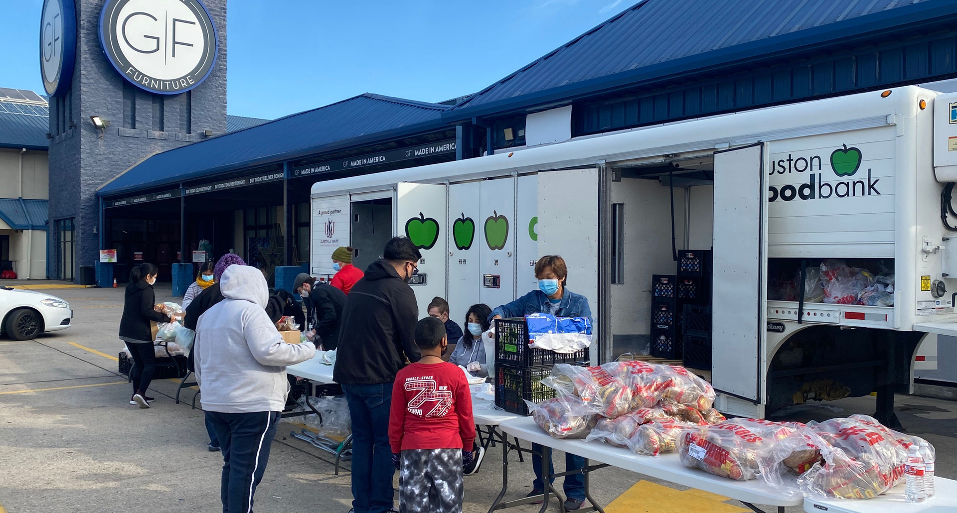 Houston food bank mobile pantry at Gallery Furniture