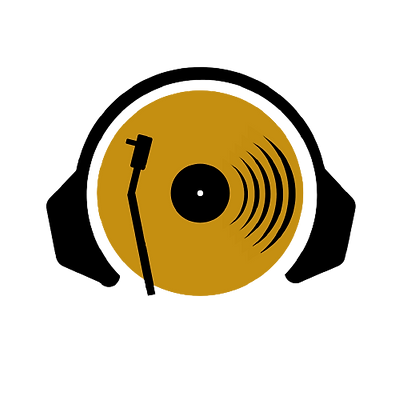 On the Record Music Podcast Gold Record Logo with Headphones