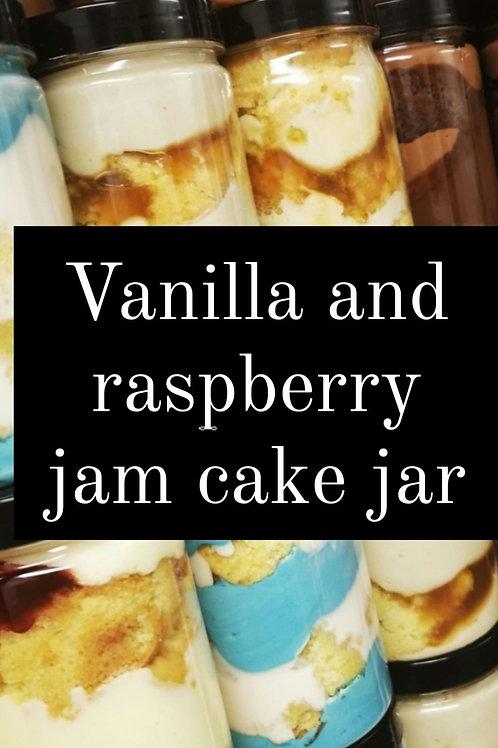 Vanilla and raspberry jam Cake Jar