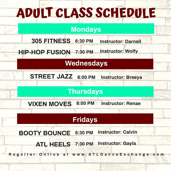 adult class schedule spring - Made with