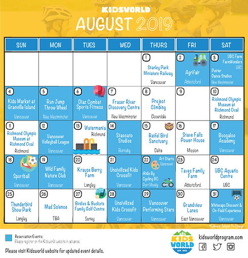 Kidsworld Yellow August 2019 Calendar.jp