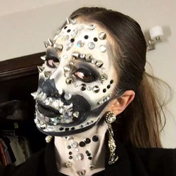 About last night💀 Inspired by _the_wigs_and_makeup_manager #skullmakeup #blingbling #creativemakeup