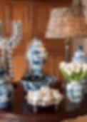 Jennie Schmid Design, Interior Design, Designer, Switzerland, Lausanne, Villa, Portfolio, Shell necklace from Indonesia, Blue porcelain china, blue and white interior accents