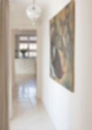 Jennie Schmid Design, Interior Design, Designer, Switzerland, Lausanne, Villa, Portfolio, hallway, Painting by Peter Elungat