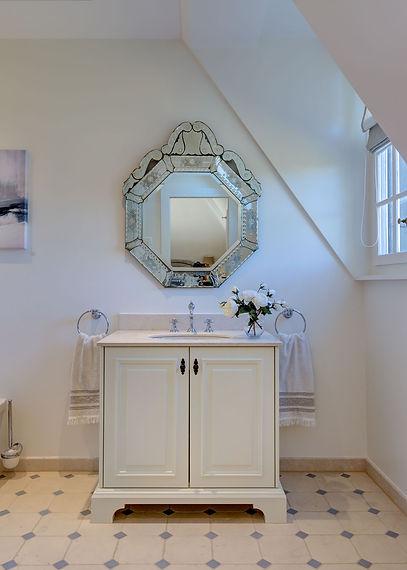 Jennie Schmid Design, Interior Design, Designer, Switzerland, Lausanne, Villa, Portfolio, bathroom, Venetian inspired mirror, custom made cabinetry