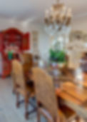 Jennie Schmid Design, Interior Design, Designer, Switzerland, Lausanne, Villa, Portfolio, kitchen, dining room, Antique table and chairs from France,red Chinese secrétaire, champagne glasses from Italy,set of four framed Chinese prints from Oak direct,chandelier from Eichholtz