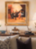 Jennie Schmid Design, Interior Design, Designer, Switzerland, Crans Montana, Chalet Montesano, Swiss Alps, Portfolio, Ski Resort, Living Room,  Painting by bernard Glassman