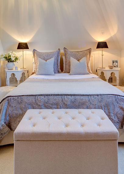 Jennie Schmid Design, Interior Design, Designer, Switzerland, Lausanne, Villa, Portfolio, bedroom, Bedding by pom-pom at home,Custom made Moroccan inspired bedside tables