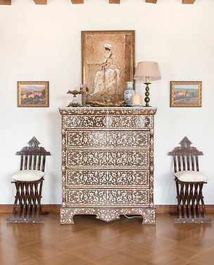 Jennie Schmid Design, Interior Design, Designer, Switzerland, Lausanne, Villa, Syrian Mother of Pearl inlay chest, Syrian Mother of Pearl inlay side chairs, Oil on canvas painting by Peter Elungat, Blue and white chinoiserie vase, Acrylic on canvas tuscan scene paintings, Antique Brass lamp