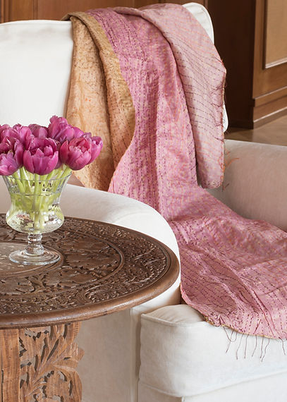 Jennie Schmid Design, Interior Design, Designer, Switzerland, Lausanne, Villa, Portfolio, pink interior accents, Meridian chair,Indian silk throw, wood table with mother of pearl inlay from Sri Lanka